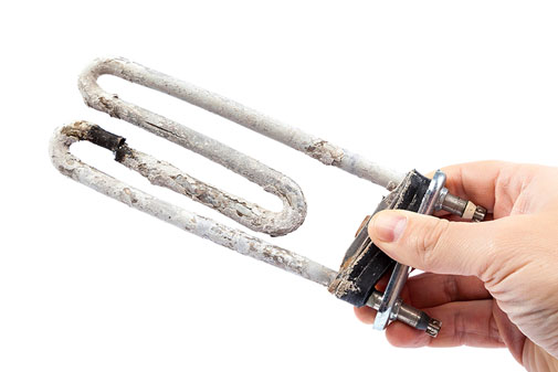 Heating element furred up by limescale buildup
