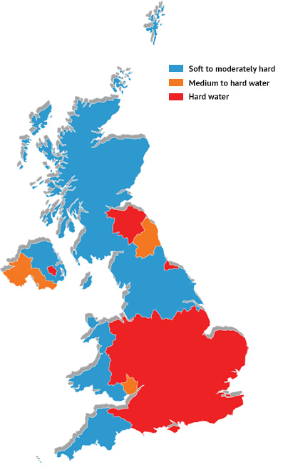 Hard water areas of the UK