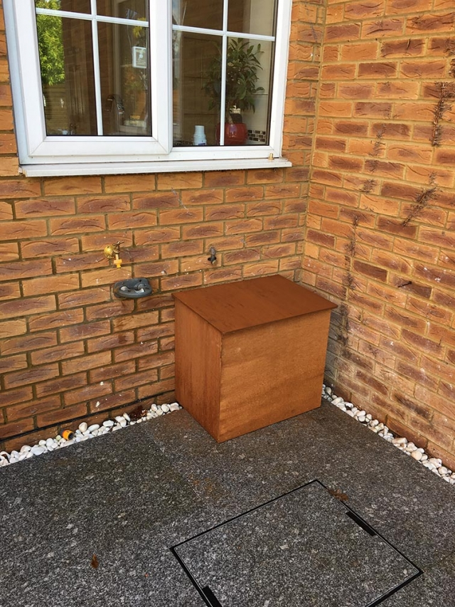 Water softener installed outside a home in Reading.