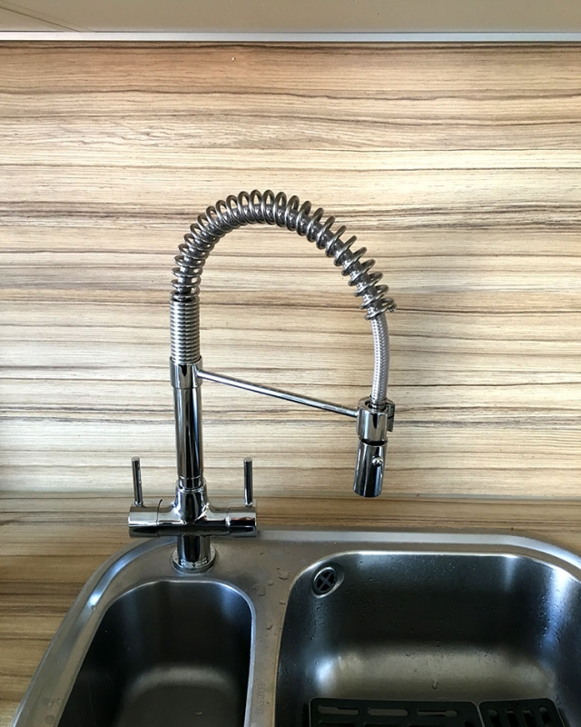Contemporary 3 way tap fitted with a water softener