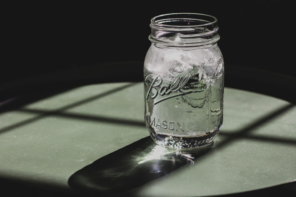 Water in a glass jar