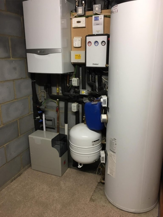 New block salt water softener installed for customer in Reading.