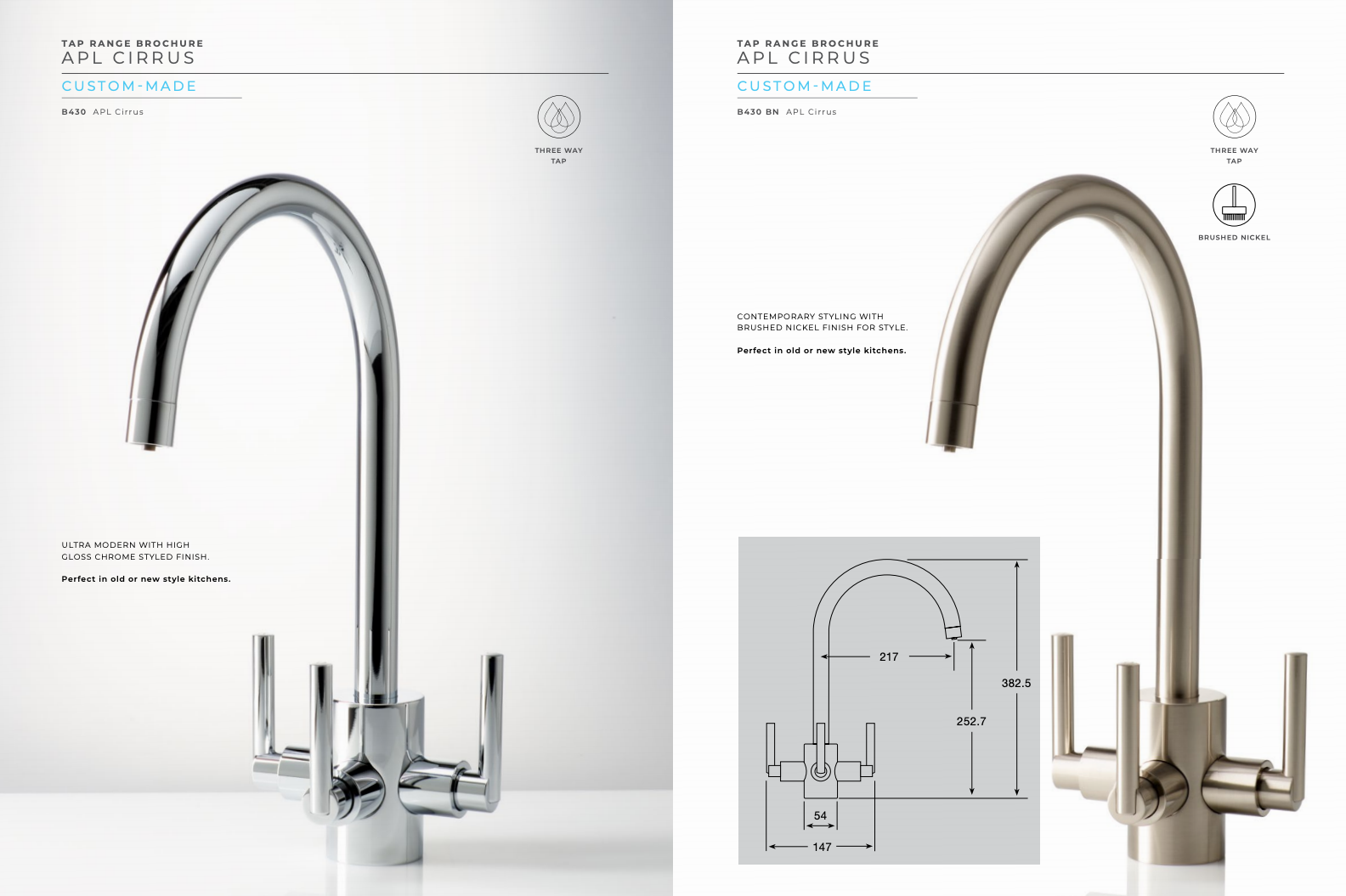 APL Cirrus 3-way drinking water taps