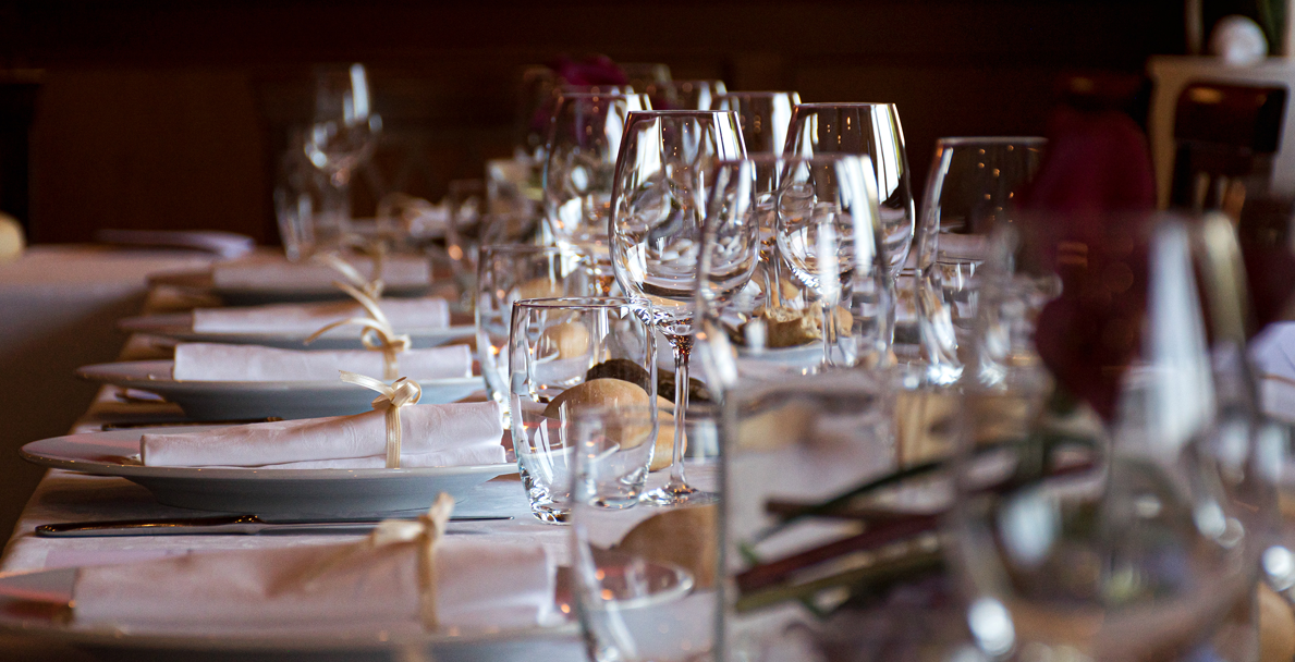 Table with sparkling glasses